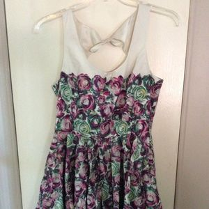 Pink & Green Floral Fit & Flare Cut Out Back Dress